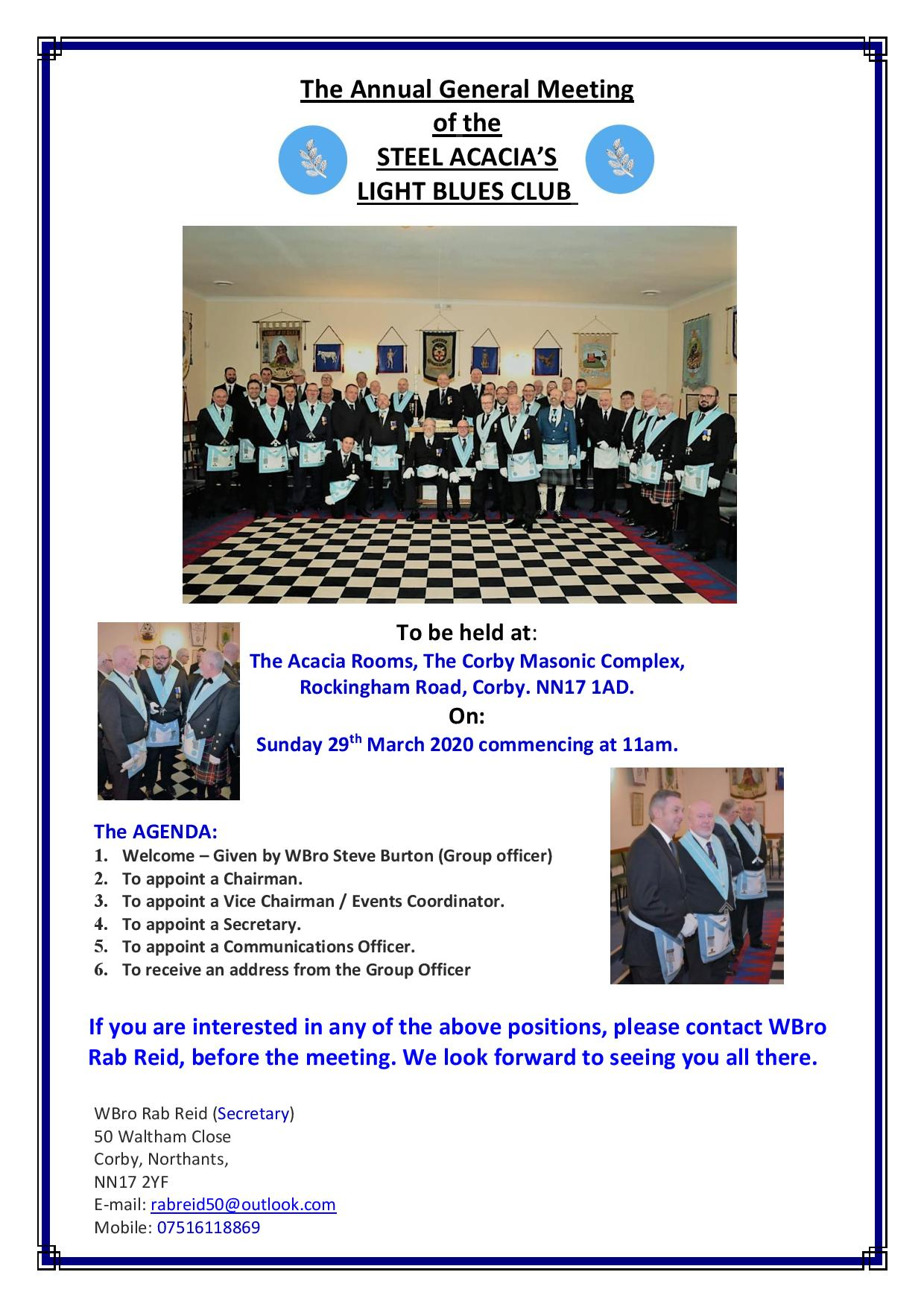 Light Blues annual General meeting 13-3-2020